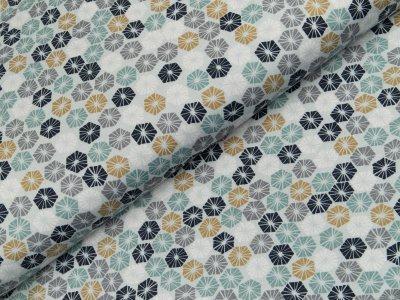Jersey - geometrische Blumen - helles grau