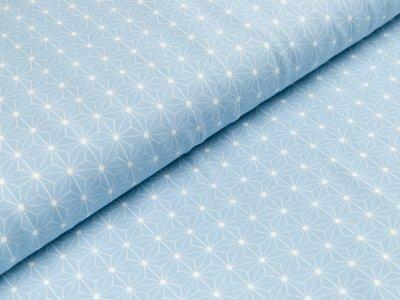 Jersey - geometrische Blumen - helles blau
