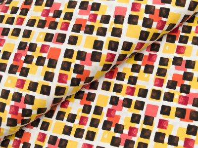 Jersey - Quadrate - gelb/rosa