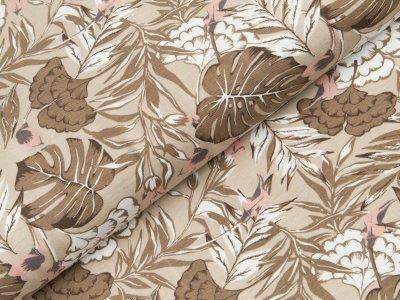 Jersey - tropische Pflanzen - braun/beige