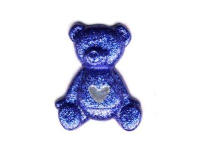 Edler Glitzer Knopf Teddy mit Herzchen blau 25mm