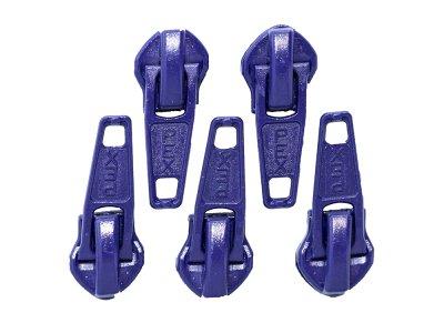 Slider/Zipper/Automatikschieber für Reißverschlüsse Größe 5 - Set 5 Stück - violett
