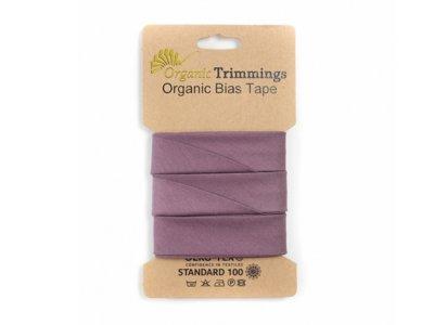Popeline Organic Cotton Schrägband/Einfassband gefalzt 20 mm Breit x 5 Meter Couponn - uni mauve