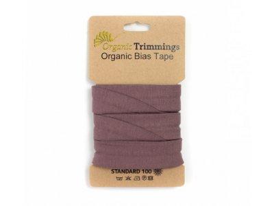 Jersey Organic Cotton Schrägband/Einfassband gefalzt 20 mm Breit x 3 Meter Coupon - uni mauve