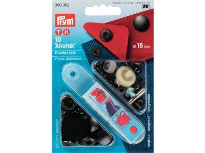 Prym NF-Druckknopf Anorak 15mm 10 Stück - schwarz