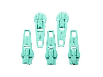 Slider / Zipper / Automatikschieber für Reißverschlüsse Größe 3 - Set 5 Stück türkis