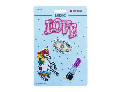 Applikationen Love Unicorn 4 Stück zum aufbügeln