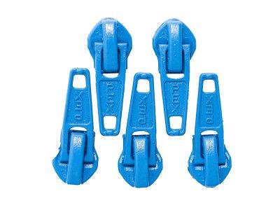 Slider/Zipper/Automatikschieber für Reißverschlüsse Größe 5 - Set 5 Stück - blau