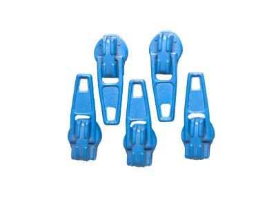 Slider / Zipper / Automatikschieber für Reißverschlüsse Größe 3 - Set 5 Stück blau