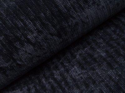 Chenille Strickstoff - Streifen - dunkles blau