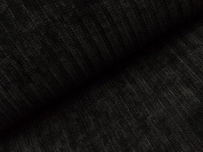 Chenille Strickstoff - Streifen - schwarz
