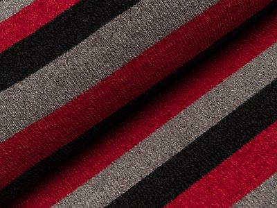 Chenille Strickstoff - breite Streifen - schwarz/grau/rot