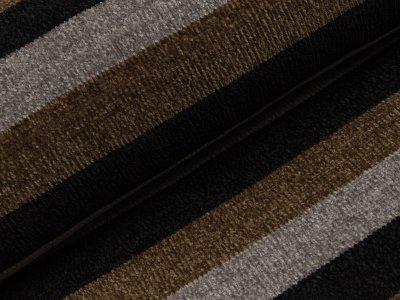 Chenille Strickstoff - breite Streifen - schwarz/grau/olivgrün