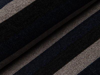 Chenille Strickstoff - breite Streifen - schwarz/grau/dunkles blau