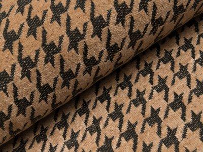 Chenille Strickstoff - Hahnentritt-Muster - beige