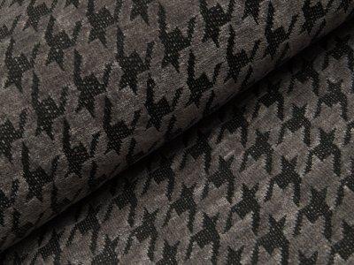 Chenille Strickstoff - Hahnentritt-Muster - grau
