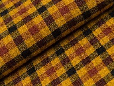 Viskose Webware Washed Checks - Kariert - schwarz/gelb