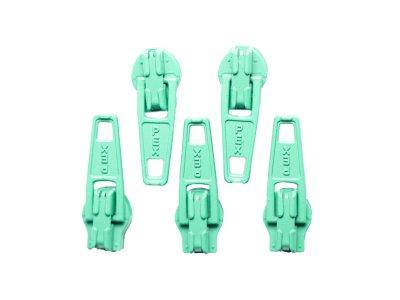 Slider / Zipper / Automatikschieber für Reißverschlüsse Größe 3 - Set 5 Stück smaragd