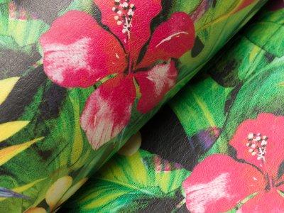 Lederimitat bedruckt - Blumen und Blätter - schwarz/grün/fuchsia