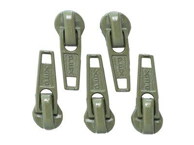 Slider/Zipper/Automatikschieber für Reißverschlüsse Größe 5 - Set 5 Stück - olive