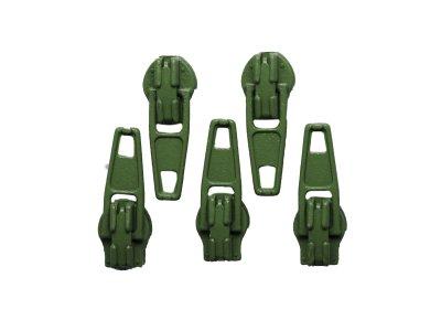 Slider / Zipper / Automatikschieber für Reißverschlüsse Größe 3 - Set 5 Stück olive