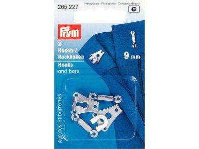 Prym 2 Hosen/Rockhaken und Stege 9mm - silberfarben