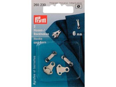 Prym 2 Hosen/Rockhaken und Stege 6mm - silberfarben