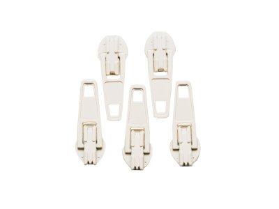 Slider / Zipper / Automatikschieber für Reißverschlüsse Größe 3 - Set 5 Stück beige