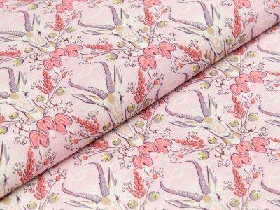 Viskose Webware Hilco Prairie - Steinböcke und Blumen - rosa