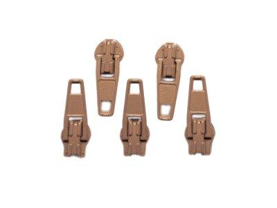 Slider / Zipper / Automatikschieber für Reißverschlüsse Größe 3 - Set 5 Stück hellbraun