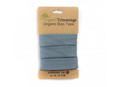 Jersey Organic Cotton Schrägband/Einfassband gefalzt 20 mm Breit x 3 Meter Coupon - uni altblau