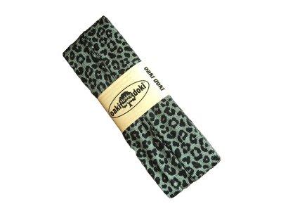 Jersey Schrägband Oaki doki gefalzt 20 mm x 3 m - Animalprint - altgrün