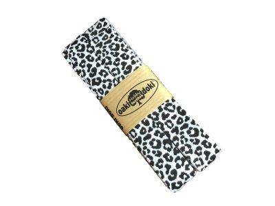 Jersey Schrägband Oaki doki gefalzt 20 mm x 3 m - Animalprint - weiß