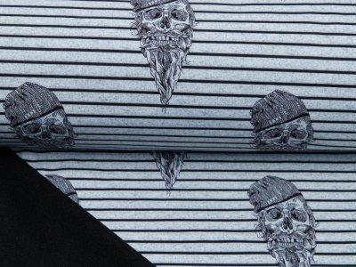 Softshell Jackenstoff Melange Fräulein von Julie - Hippster Skulls auf Streifen - grau