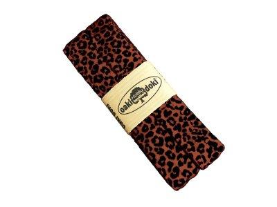 Jersey Schrägband Oaki doki gefalzt 20 mm x 3 m - Animalprint - rost