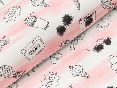Jersey Hilco Summer Fun - Eis und sommerliche Motive auf Streifen - weiß/rosa