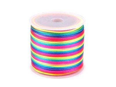 Satinschnur für Armbänder 1 mm ca. 27-30 m Rolle - Regenbogen - multicolor