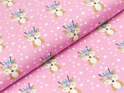 Jersey Hilco Forest Friends - Rehkitze und Schneeflocken - rosa