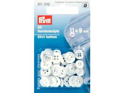 Prym 20 Hemdenknöpfe KST 11 + 9 mm - perlmutt