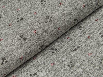 Jersey mit Glitter Hilco - Sterne und Punkte - meliert grau