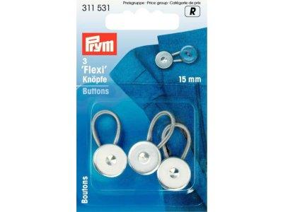 Prym 3 Flexi-Knöpfe 15mm - silberfarben