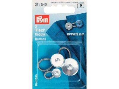 Prym 3 Flexi-Knöpfe mit Schlaufe 10 + 15 + 19 mm - silberfarben