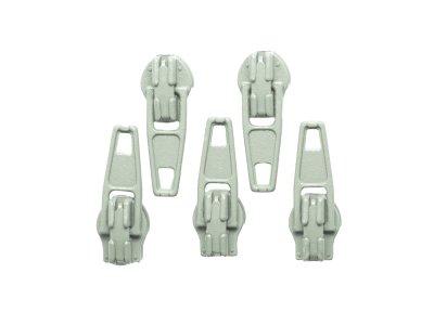 Slider / Zipper / Automatikschieber für Reißverschlüsse Größe 3 - Set 5 Stück helles grau
