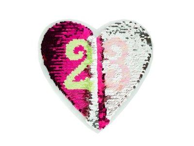 Applikation mit Wendepailetten - Zahlen im Herz - pink/silber