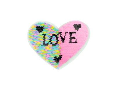 Applikation Herz mit Wendepailetten - Love - rosa/bunt