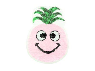 Applikation Ananas mit Wendepailetten - rosa/weiß