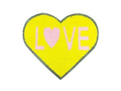 Applikation Herz mit Wendepailetten - Love - gelb/weiß