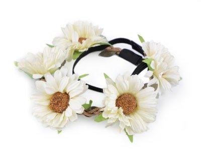 Blumenkranz Kopfschmuck - Elastisches Haarband ca. 50 cm mit Blumen/Blüten - vanille