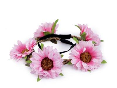 Blumenkranz Kopfschmuck - Elastisches Haarband ca. 50 cm mit Blumen/Blüten - helles rosa