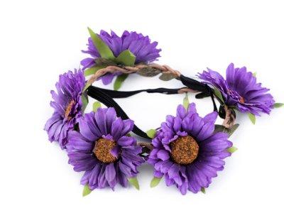Blumenkranz Kopfschmuck - Elastisches Haarband ca. 50 cm mit Blumen/Blüten - lila